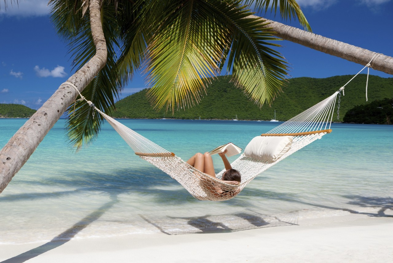 woman reading a book in a hammock stretched between two palm trees at a tropical beach in the Caribbean