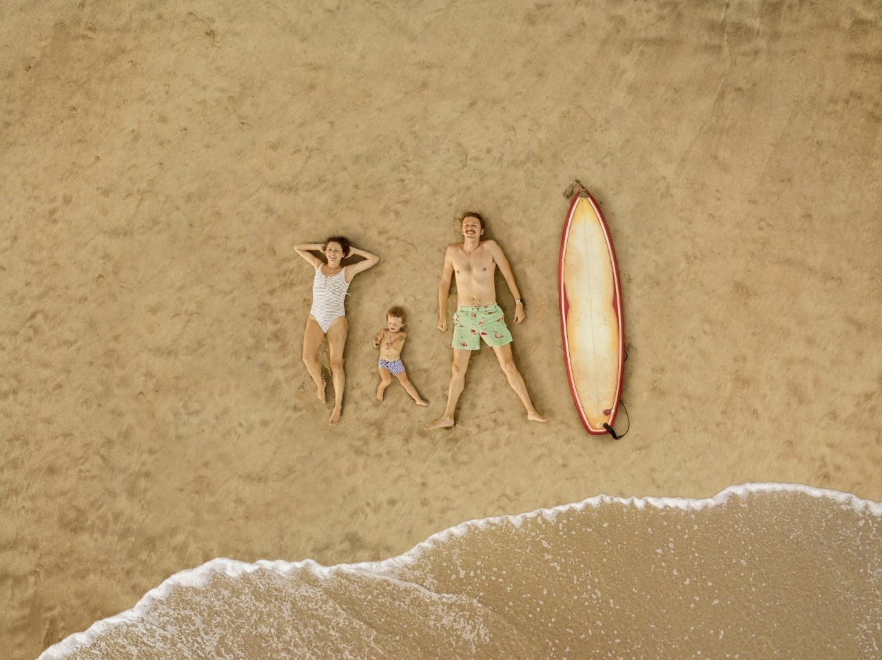 Aerial view of family at the beach
