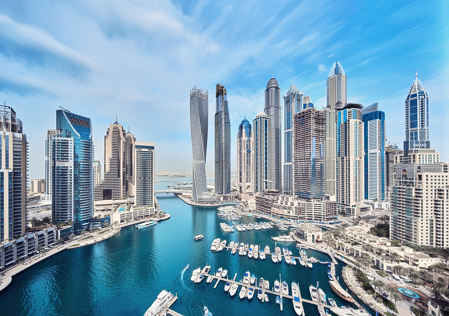 Dubai marina with modern skycrapers