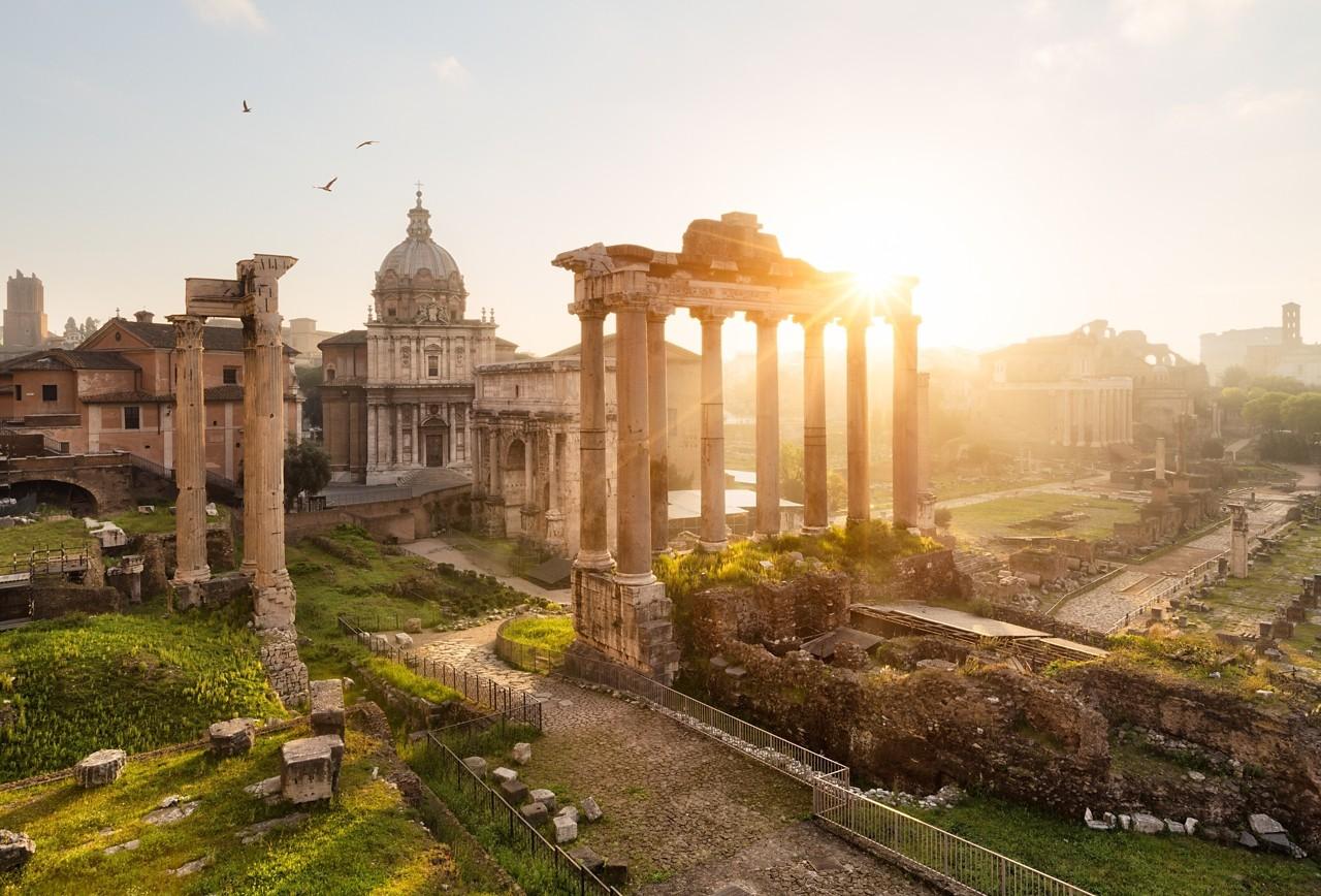 Sunrise at roman ruins in Rome, Forum