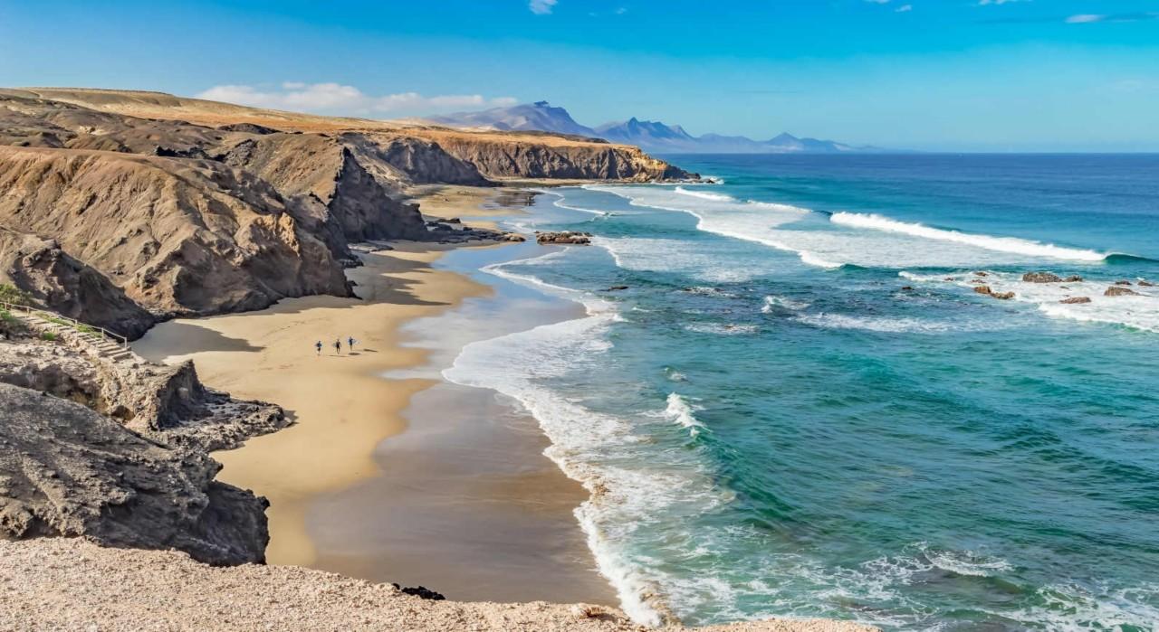 playa, del, viejo, rey, strand, fuerteventura, kanarische, inseln, kanaren, atlantic, atlantischer, ozean, basalt, blau, canarias, fels, hiking, himmel, klippen, küste, landschaft,