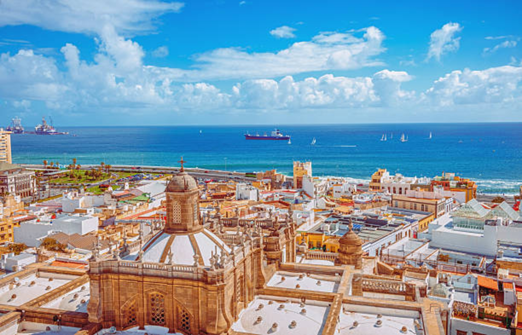 Aerial view over the old town and waterfront of Las Palmas de Gran Canaria.