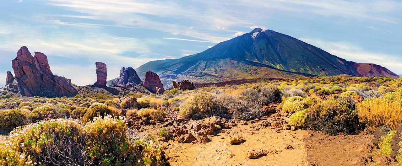 Colorful scenic landscape of sunset in Tenerife national park of Teide.Alto de Guajara.Canary island.