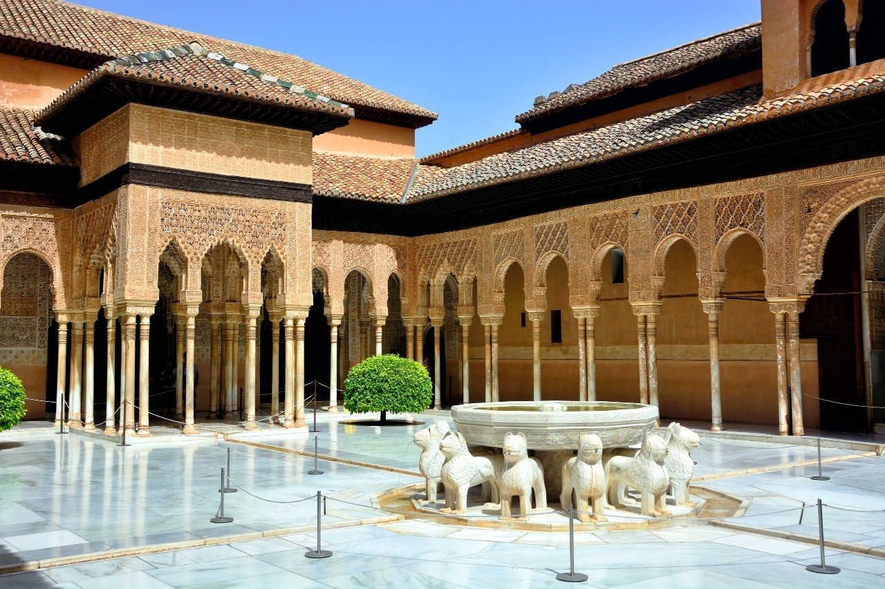Moorish arches in the Court of the Lions, Alhambra, Granada