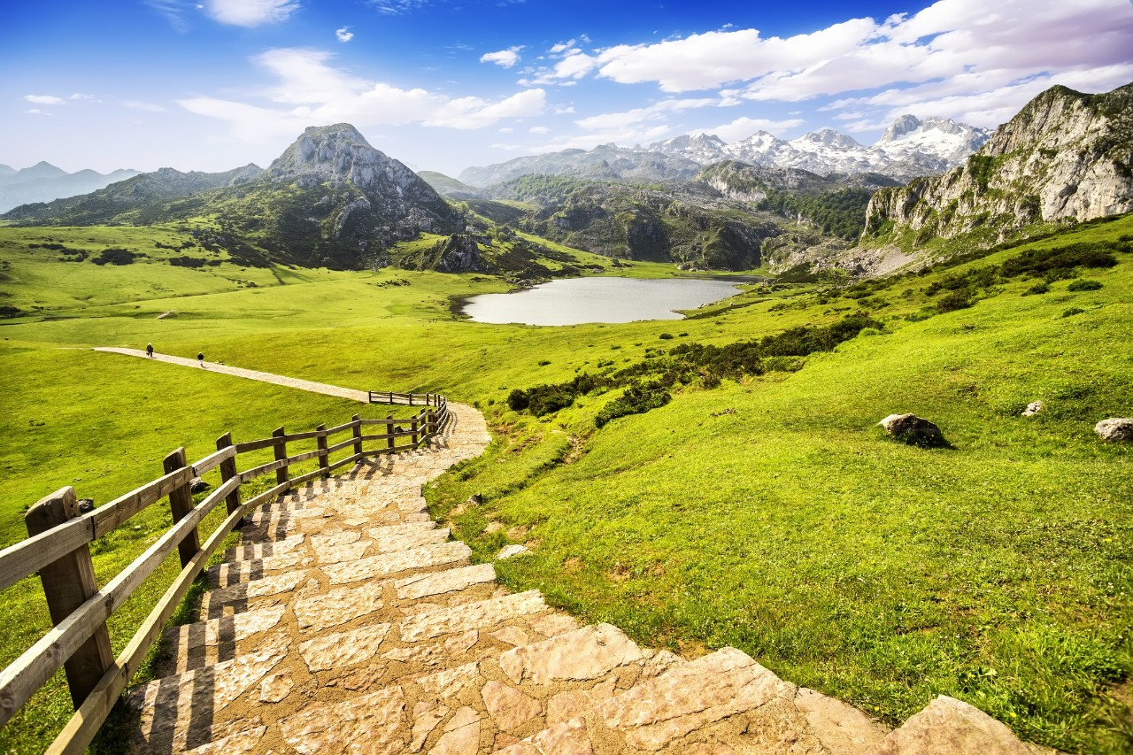 Lake Ercina, one of the famous lakes of Covadonga, Asturias , Spain